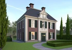 Classicistische villa artistimpression met prachtige tuin