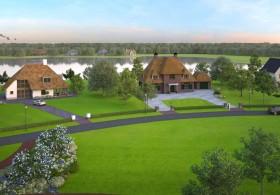 3d perspectief van 3 villa's in een mooie groene en waterrijke omgeving
